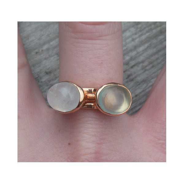 Gold-plated rings set with Moonstone and Chalcedony 19 mm