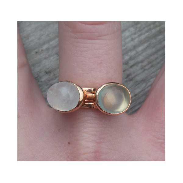 Vergoldete Ringe mit Mondstein und Chalcedon 19 mm