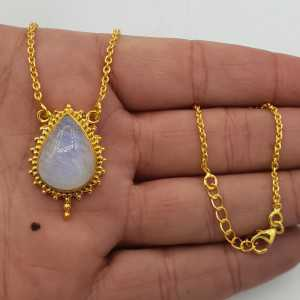 Vergoldete Halskette mit Mondstein Anhänger