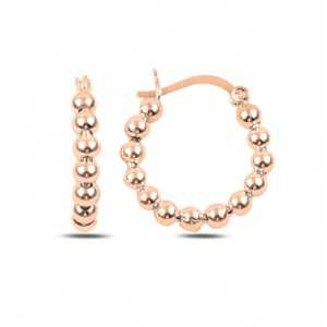 Rose gold-plated beaded round creole 20mm