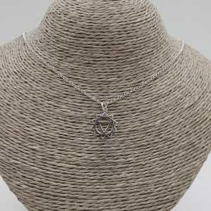 925 Sterling zilveren ketting met chakra solar hanger