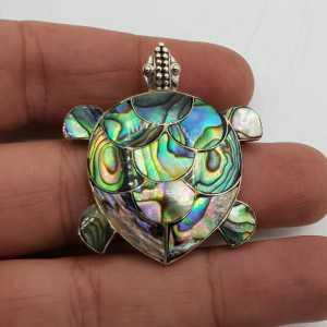 Silber-Anhänger Schildkröte mit Abalone Muschel medium