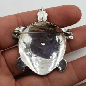 Zilveren hanger schildpad gezet met Parelmoer large