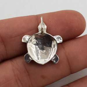 Zilveren hanger schildpad met Abalone schelp xs small