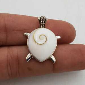 Zilveren hanger schildpad gezet met shiva schelp