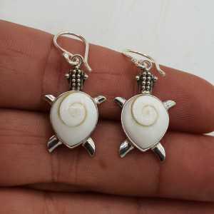 925 Sterling zilveren oorbellen schildpad met Shiva schelp