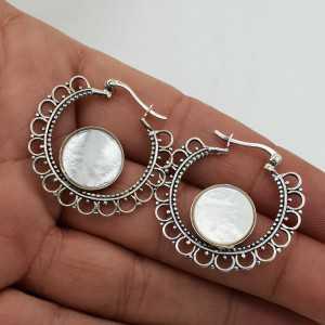 925 Sterling zilveren creolen met ronde Parelmoer