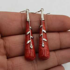 925 Sterling zilveren oorbellen met rood Koraal