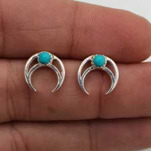 925 Sterling zilveren oorknoppen halve maan met Turkoois