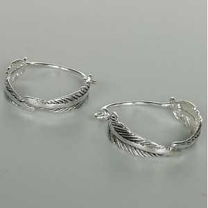 925 Sterling silver feather creole