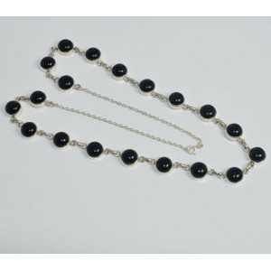 925 Sterling Silber Kette Halskette mit einem Runden schwarzen Onyxen