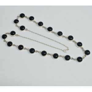 925 Sterling silver chain necklace with a round black Onyxen