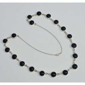 925 Sterling zilveren ketting met ronde zwarte Onyxen