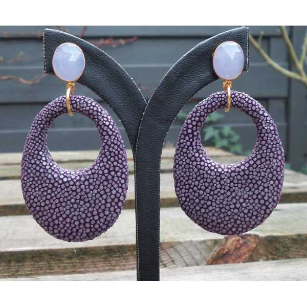 Gold plated earrings with oval lavender Chalcedony and purple Roggenleer