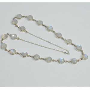 925 Sterling Silber Kette Halskette mit einem Runden Regenbogen-Mondsteine
