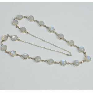 925 Sterling silver chain necklace with a round rainbow Moonstones