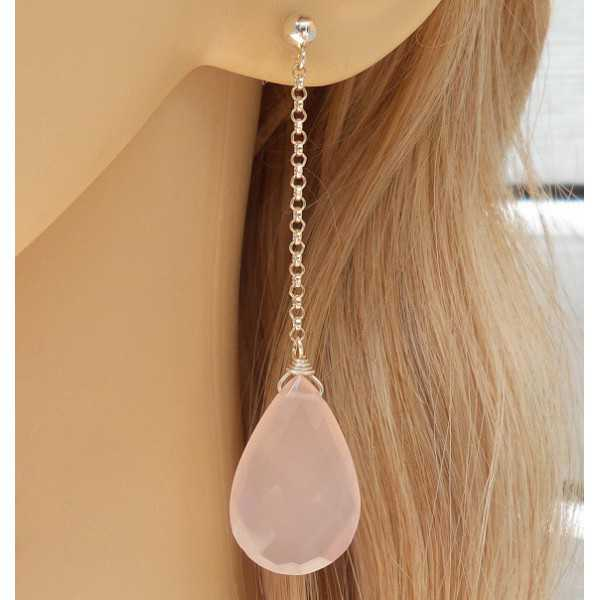 Silver earrings with light pink Chalcedony briolet