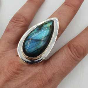 925 Sterling zilveren ring met Labradoriet 18.5 mm