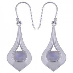 925 sterling Silber Ohrringe mit einer traverse Ovale Mondstein