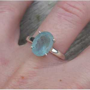 Silber ring mit ovaler Facette Aquamarin 18 mm
