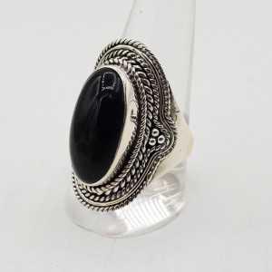 925 Sterling Silber ring mit ovalen Onyx schwarz 17, oder 20 mm