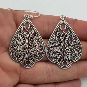 925 Sterling silver filigree drop earrings