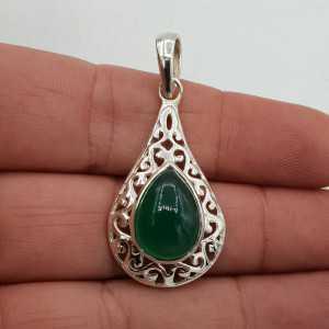 925 Sterling zilveren hanger met groene Onyx in open bewerkte setting