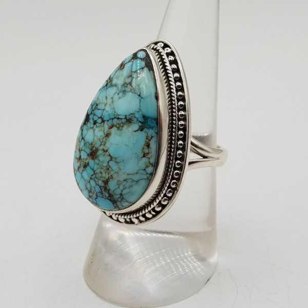 Zilveren ring gezet met druppelvormige Turkoois 17 mm