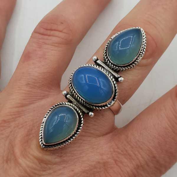 925 Sterling zilveren ring met Chalcedoon 19 mm