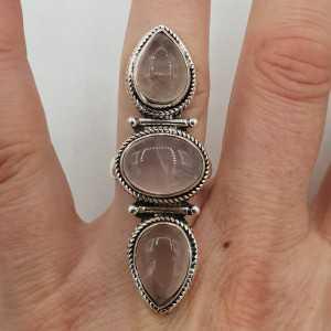 925 Sterling zilveren ring met Rozenkwarts 17.5 mm