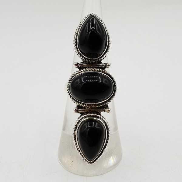 925 Sterling zilveren ring met zwarte Onyx 16.5 mm