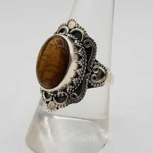 925 Sterling zilveren ring met Tijgeroog 18 mm
