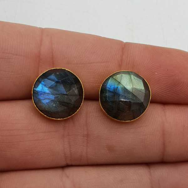 Gold-plated drop earrings featuring a large round faceted Labradorite