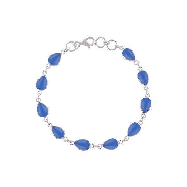 925 Sterling zilveren armband met blauw Chalcedoon
