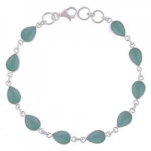 925 Sterling zilveren armband met aqua Chalcedoon