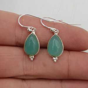 925 Sterling silver drop earrings teardrop aqua Chalcedony