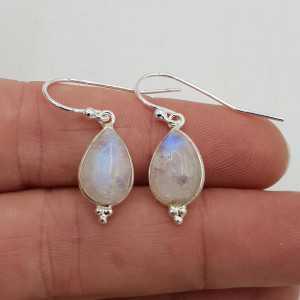 925 Sterling Silber Ohrringe, tropfenförmige Mondstein
