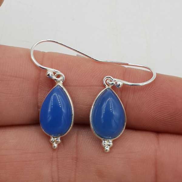 925 Sterling zilveren oorbellen druppelvormige blauw Chalcedoon