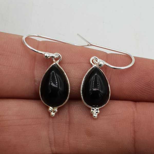 925 Sterling zilveren oorbellen druppelvormige Onyx
