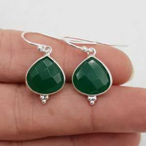 925 Sterling silver drop earrings faceted green Onyx.