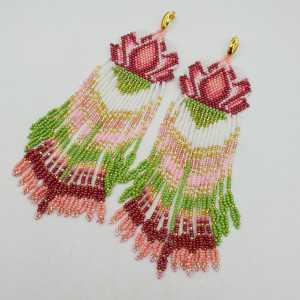 Long beaded tassel earrings, green, pink, and white