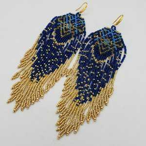 Long beaded tassel earrings, blue, gold