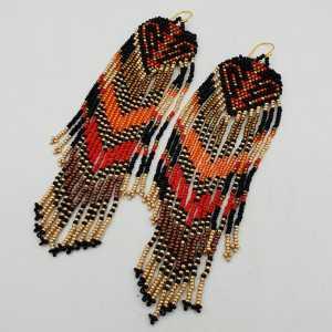 Long beaded tassel earrings, red, gold, black