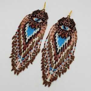 Long beaded tassel earrings, turquoise gold evil eye