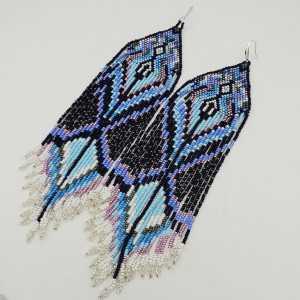 Long beaded tassel earrings, blue, purple, black