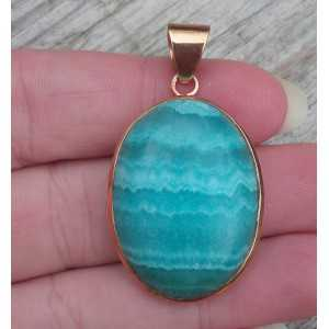 Gold plated pendant with oval Amazonite