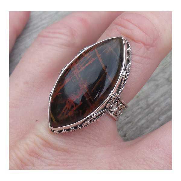 Silber ring marquise Pilbara Jaspis set in einem geschnitzten Einstellung 18 mm