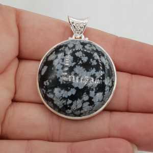 925 Sterling zilveren hanger ronde sneeuwvlok Obsidiaan