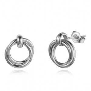 925 Sterling Silber Ohrringe, Doppel Ringe