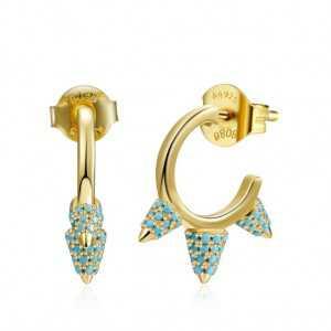 Goud vergulde spike oorbellen met Turkoois blauwe steentjes
